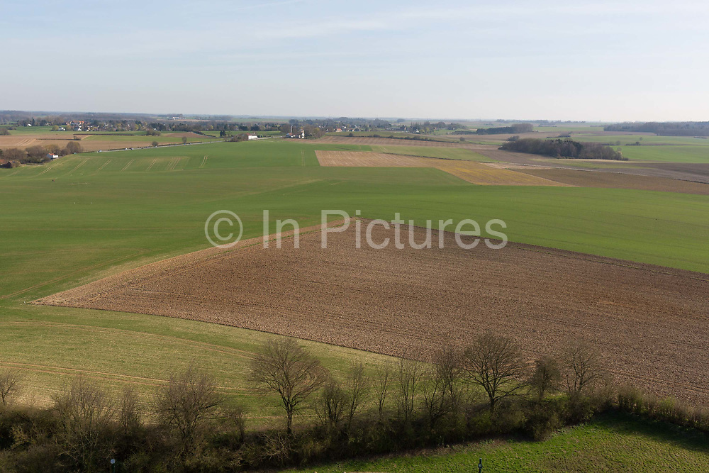 A landscape of fields and farming land looking in the direction of Napoleons massed French lines during the Battle of Waterloo, on 25th March 2017, at Waterloo, Belgium. Waterloo was fought  on 18 June 1815 between a French army under Napoleon Bonaparte,  defeated by two of the armies of the Seventh Coalition: an Anglo-led Allied army under the command of the Duke of Wellington, and a Prussian army under the command of Gebhard Leberecht von Blücher, resulting in 41,000 casualties.