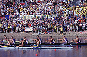 Sydney, AUSTRALIA. GBR M8+, last few strokes of the men's eight Olympic final,  at  the Olympic Regatta, Penrith Lakes. NSW. Credit [Peter Spurrier/Intersport Images] .... 2000 Olympic Regatta Sydney International Regatta Centre (SIRC) 2000 Olympic Rowing Regatta00085138.tif