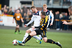 Falkirk's Rory Loy and Alloa Athletic's Jason Marr.<br /> Half time : Alloa Athletic 0 v 0 Falkirk, Scottish Championship 12/10/2013. played at Recreation Park, Alloa.<br /> ©Michael Schofield.