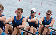 Poznan, POLAND, 21st June 2019, Friday, Morning Heats, USA M4- /1 (b) DETHLEFS Thomas, (2)HARRITY Conor, (3)RICHARDS Alexander and WALLIS Alexander,  FISA World Rowing Cup II, Malta Lake Course, © Peter SPURRIER/Intersport Images,<br /> <br /> 11:41:17