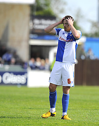 Bristol Rovers' Tom Parkes realises his team are relegated on final the whistle  - Photo mandatory by-line: Joe Meredith/JMP - Mobile: 07966 386802 03/05/2014 - SPORT - FOOTBALL - Bristol - Memorial Stadium - Bristol Rovers v Mansfield - Sky Bet League Two