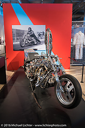 Tator Gilmore's twin Evo-powered HarleyDavidson dragster that he built in 1990, on display in Drag Racing: America's Fast Time - exhibition at the Harley-Davidson Museum during the Milwaukee Rally. Milwaukee, WI, USA. Saturday, September 3, 2016. Photography ©2016 Michael Lichter.