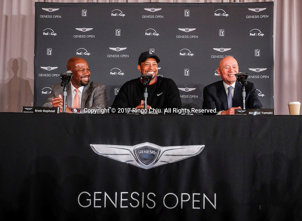 From left to right, Erwin Raphael , general manager of Genesis in the U.S., Tiger Woods, and Michael Yamaki , corporate officer of the Riviera Country Club, in a press conference for Genesis Open Media Day Monday January 23, 2017 at Riviera Country Club in Pacific Palisades, California. (Photo by Ringo Chiu/PHOTOFORMULA.com)<br /> <br /> Usage Notes: This content is intended for editorial use only. For other uses, additional clearances may be required.