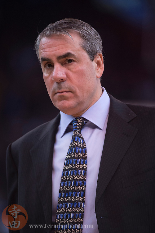 November 17, 2015; Oakland, CA, USA; Toronto Raptors assistant coach Andy Greer during the second quarter against the Golden State Warriors at Oracle Arena. The Warriors defeated the Raptors 115-110.