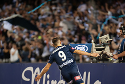 February 23, 2019 - Melbourne, VIC, U.S. - MELBOURNE, VIC - FEBRUARY 23: Melbourne Victory forward Kosta Barbarouses (9) celebrates as he scores at round 20 of the Hyundai A-League Soccer between Melbourne City FC and Melbourne Victory on February 23, 2019 at Marvel Stadium, VIC. (Photo by Speed Media/Icon Sportswire) (Credit Image: © Speed Media/Icon SMI via ZUMA Press)