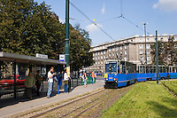 Tram stop in Ronald Reagan Central Square in Nowa Huta Krakow Poland