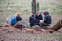© Licensed to London News Pictures. 14/02/2021. London, UK. A family stop to enjoy a warm drink and a snack while out walking in Richmond Park, South West London this afternoon. Tomorrow the the government mulls over its road map for unlocking the country from Covid-19 restrictions with children back to school by the 8th March and possible picnics in the parks as the vaccination program continues. Photo credit: Alex Lentati/LNP