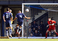 Photo: Ashley Pickering.<br />Southend United v Leicester City. Coca Cola Championship. 03/03/2007.<br />Iain Hume of Leicester (yellow obscurred) heads home the first goal (0-1)