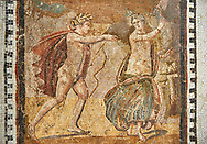 Picture of a Roman mosaics design depicting scenes from mythology, from the ancient Roman city of Thysdrus. End of 2nd century AD, House in Jiliani Guirat area. El Djem Archaeological Museum, El Djem, Tunisia.<br /> <br /> This Roman mosaic depicts Aurore enticing Cephane, Apollo enticing Cyrene and Apollo persuing Daphne .<br /> <br /> If you prefer to buy from our ALAMY PHOTO LIBRARY Collection visit : https://www.alamy.com/portfolio/paul-williams-funkystock/roman-mosaic.html . Type - El Djem - into the LOWER SEARCH WITHIN GALLERY box. Refine search by adding background colour, place, museum etc<br /> <br /> Visit our ROMAN MOSAIC PHOTO COLLECTIONS for more photos to download as wall art prints https://funkystock.photoshelter.com/gallery-collection/Roman-Mosaics-Art-Pictures-Images/C0000LcfNel7FpLI