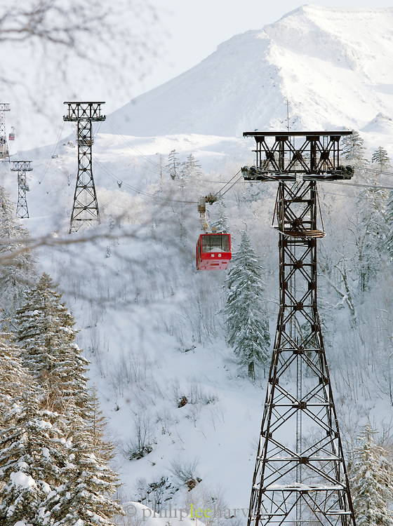 Cable cars over the landscape of in Daisetsuzan National Park, Hokkaid?, Japan
