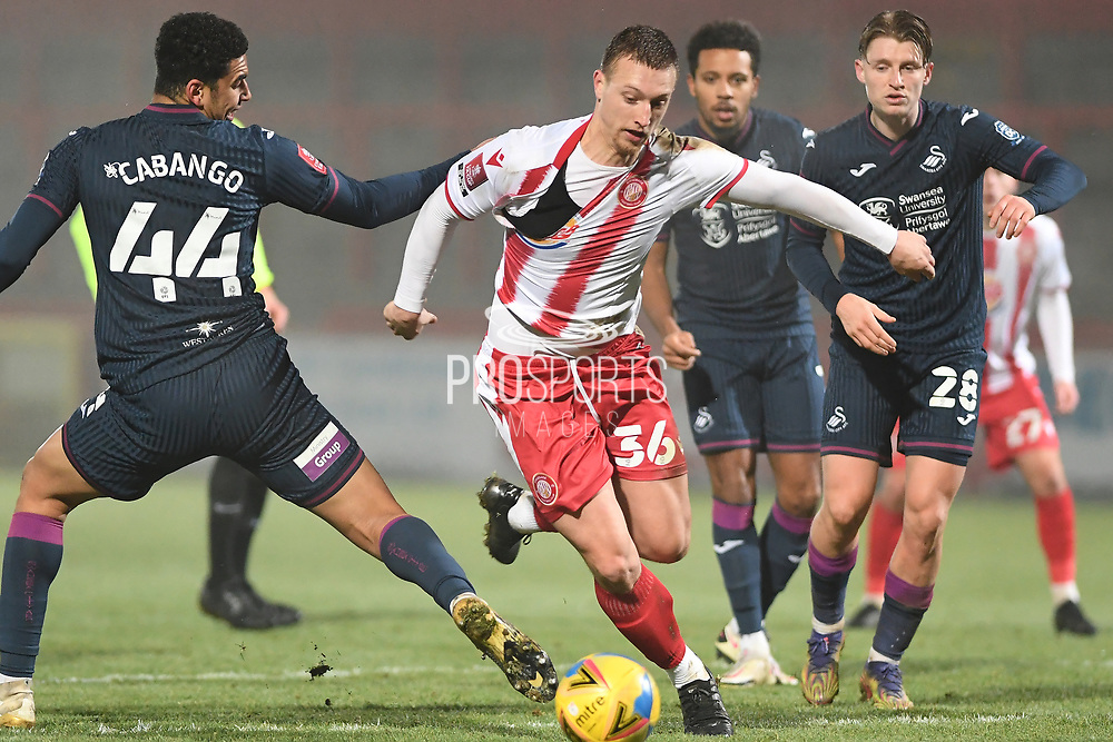 Stevenage forward Luke Norris(36) runs forward during the FA Cup match between Stevenage and Swansea City at the Lamex Stadium, Stevenage, England on 9 January 2021.
