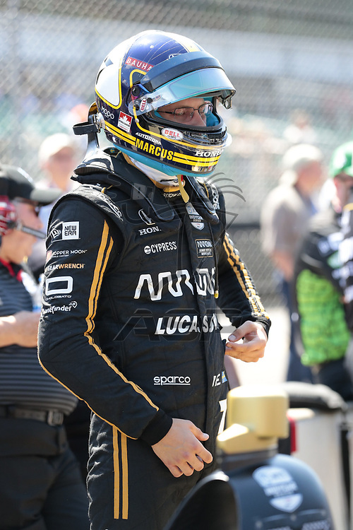 MARCUS ERICSSON (R) (7) of Sweden  prepares to qualify for the Indianapolis 500 at Indianapolis Motor Speedway in Indianapolis, Indiana.