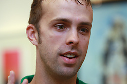Goalkeeper Mike Morrison at meeting of HD Tilia Olimpija with slovenian journalists before the new season,  on September 15, 2008 in Tivoli, Ljubljana, Slovenia.  (Photo by Vid Ponikvar / Sportal Images)