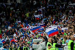 Supporters of Slovenia celebrate during the 2020 UEFA European Championships group G qualifying match between Slovenia and Israel at SRC Stozice on September 9, 2019 in Ljubljana, Slovenia. Photo by Matic Klansek Velej / Sportida