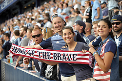 Jul 31, 2013; Kansas City, KS, USA; MLS fans hold up a patriotic scarf before the 2013 MLS All Star Game at Sporting Park. Mandatory Credit: Denny Medley-USA TODAY Sports
