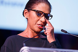 """© Licensed to London News Pictures. 12/05/2017. London, UK. GINA MILLER wipes a tear from her eye while speaking on the impact of Brexit at """"The Convention on Brexit"""" event at Westminster Central Hall in London on Friday, 12 May 2017. Photo credit: Tolga Akmen/LNP"""