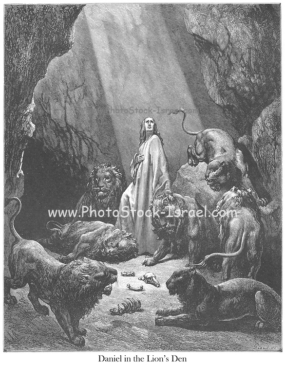 Daniel in the Den of Lions Daniel 6:20-21 From the book 'Bible Gallery' Illustrated by Gustave Dore with Memoir of Dore and Descriptive Letter-press by Talbot W. Chambers D.D. Published by Cassell & Company Limited in London and simultaneously by Mame in Tours, France in 1866