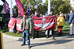 Small number of military veterans protesting at their lack of support from the Government at the Brexit People's Vote march, London 19 October 2019 UK. Veterans of the Northern Ireland conflict feel betrayed by the Good Friday agreement