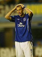Photo: Aidan Ellis.<br /> Everton v Dinamo Bucuresti. UEFA Cup. 29/09/2005.<br /> Everton's Duncan Ferguson cant believe his team are out of europe