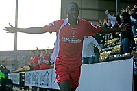 Photo: Pete Lorence.<br />Notts County v Swindon Town. Coca Cola League 2. 23/09/2006.<br />Fola Onibuje celebrates scoring the opening goal of the match.