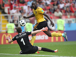 MOSCOW, June 23, 2018  Romelu Lukaku (top) of Belgium scores a goal during the 2018 FIFA World Cup Group G match between Belgium and Tunisia in Moscow, Russia, June 23, 2018. (Credit Image: © Wu Zhuang/Xinhua via ZUMA Wire)