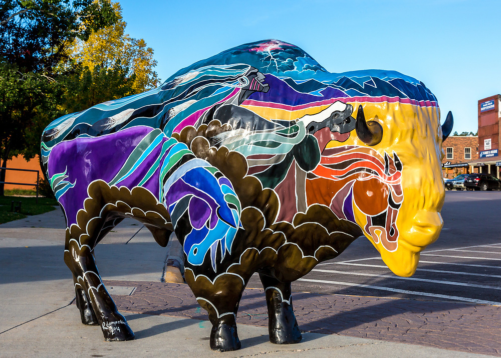 """Buffalo sculpture, one of many in """"Custer Stampede,"""" a public art project in Custer, South Dakota. Photo taken October 1, 2017."""