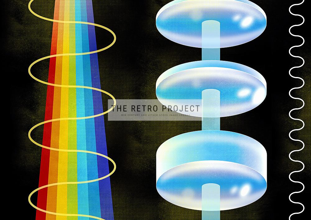 Retro Mid Century Lens Spectrum Refraction Science illustration on textured black background