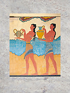 """The Minoan  """"Procession  Fresco' reconstructed at Knossos  archaeological site, Crete ..<br /> <br /> Visit our GREEK HISTORIC PLACES PHOTO COLLECTIONS for more photos to download or buy as wall art prints https://funkystock.photoshelter.com/gallery-collection/Pictures-Images-of-Greece-Photos-of-Greek-Historic-Landmark-Sites/C0000w6e8OkknEb8 <br /> .<br /> Visit our MINOAN ART PHOTO COLLECTIONS for more photos to download  as wall art prints https://funkystock.photoshelter.com/gallery-collection/Ancient-Minoans-Art-Artefacts-Antiquities-Historic-Places-Pictures-Images-of/C0000ricT2SU_M9w"""