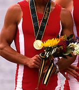 Atlanta, USA.  Gold medalist, DEN LM4-, Eskild EBBESEN , Victor FEDDERSEN , Niels HENRIKSEN , Thomas POULSEN.<br /> 1996 Olympic Rowing Regatta Lake Lanier, Georgia [Mandatory Credit Peter Spurrier/ Intersport Images]