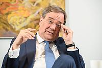31 MAY 2021, BERLIN/GERMANY:<br /> Armin Laschet, CDU, Ministerpraesident Nordrhein-Westfalen und CDU Bundesvorsitzender, waehrend einem Interview, Landesvertretung NRW<br /> IMAGE: 20210531-01-026