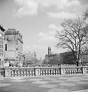 9969-D04  balustrade on the south entrance of the Treasury building, looking down Pennsylvania Ave. toward Capitol,  Washington, DC, March 24-April 1, 1957