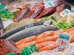 Seafood for sale at fish market, Getxo, Algorta, Basque Country, Biscay, Spain, Europe