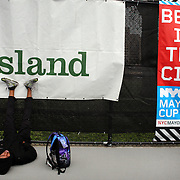 High School athletes warm up during the 2013 NYC Mayor's Cup Outdoor Track and Field Championships at Icahn Stadium, Randall's Island, New York USA.13th April 2013 Photo Tim Clayton