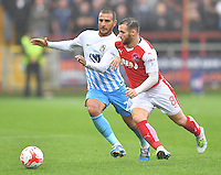Fleetwood Town's Jimmy Ryan battles with Coventry City's Marcus Tudgay<br /> <br /> Photographer Dave Howarth/CameraSport<br /> <br /> The EFL Sky Bet League One - Fleetwood Town v Coventry Town - Saturday 3 September 2016 - Highbury Stadium - Fleetwood<br /> <br /> World Copyright © 2016 CameraSport. All rights reserved. 43 Linden Ave. Countesthorpe. Leicester. England. LE8 5PG - Tel: +44 (0) 116 277 4147 - admin@camerasport.com - www.camerasport.com
