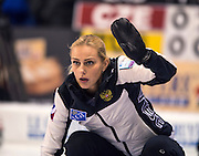 """Glasgow. SCOTLAND.  Russian """"Skip"""" signals to a team mate during the """"Round Robin"""" Games. Le Gruyère European Curling Championships. 2016 Venue, Braehead  Scotland<br /> Monday  21/11/2016<br /> <br /> [Mandatory Credit; Peter Spurrier/Intersport-images]"""