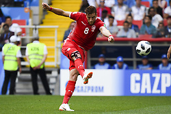 June 23, 2018 - Moscow, Russia - Fakhreddine Ben Youssef kicks the ball during the 2018 FIFA World Cup Group G match between Belgium and Tunisia at Spartak Stadium in Moscow, Russia on June 23, 2018  (Credit Image: © Andrew Surma/NurPhoto via ZUMA Press)