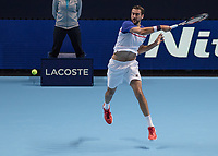 Tennis - 2017 Nitto ATP Finals at The O2 - Day Three<br /> <br /> Group Boris Becker Singles: Marin Cilic (Croatia) Vs Jack Sock (United States) <br /> <br /> Marin Cilic (Croatia) follows through on his with a forehand return of serve at the O2 Arena<br /> <br /> COLORSPORT/DANIEL BEARHAM
