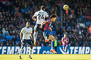 Serge Aurier (24) of Tottenham Hotspur, Crystal Palace #14 Lee Chung-yong during the Premier League match between Crystal Palace and Tottenham Hotspur at Selhurst Park, London, England on 25 February 2018. Picture by Sebastian Frej.
