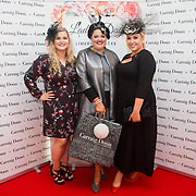 08.10.17.            <br /> Pictured at Limerick Racecourse for the Keanes Most Stylish Lady competition, left to right, Second prize, Laurena Lawles, Carrig Donn, Nadine Smith, Abbeyfeale, Co. Limerick and Judge Sinead O'Brien. Picture: Alan Place