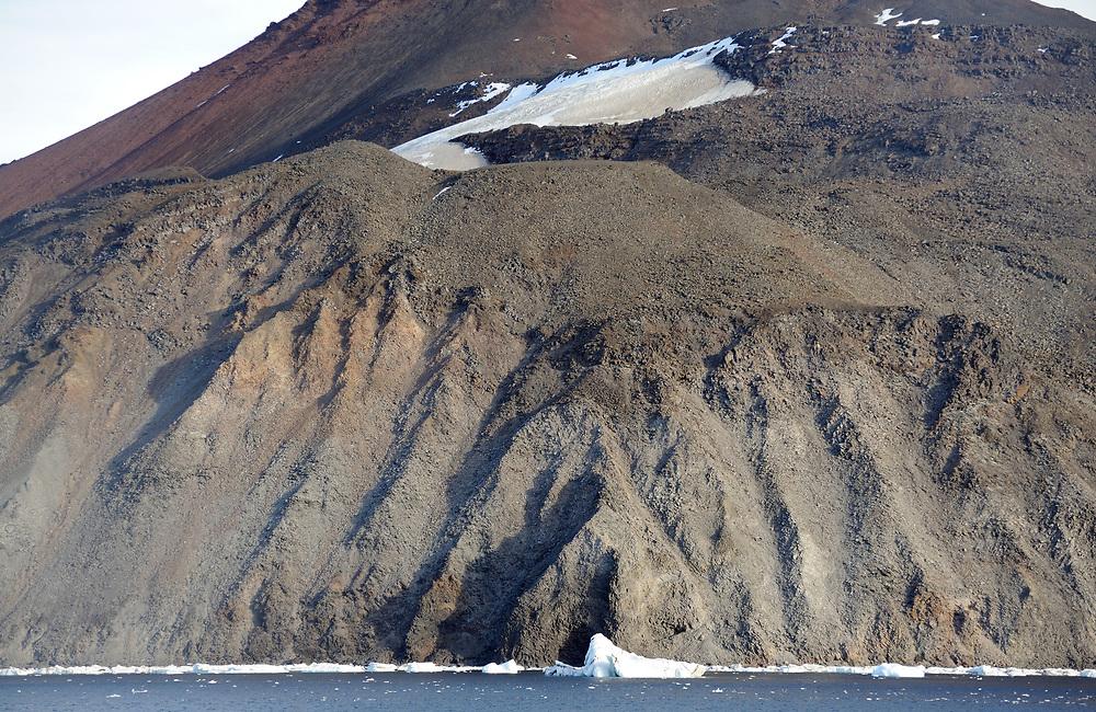 Eroded cliffs of volcanic ash. Paulet Island, Antarctic Peninsula. Antarctica. 02Mar16