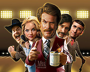 Caricature: Ron Burgundy and crew are back - played by Will Ferrell, Paul Rudd, Steve Carell, Christina Applegate, David Koechner. 3D modeling and Photoshop. Originally created for Penthouse Magazine Movie Review.