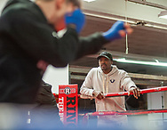 Boxer Ray Robinson watches as his boxers work on footwork and hand eye coordination drills during boxing workouts for his team of five boxers, four boys and one girl Wednesday, March 04, 2020 at Keystone Boxing & MMA Gym in Bristol, Pennsylvania. (WILLIAM THOMAS CAIN/PHOTOJOURNALIST)