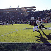 Deon Randall, Yale, drops a pass in the end zone while challenged by Matt Arends, Princeton during the Yale Vs Princeton, Ivy League College Football match at Yale Bowl, New Haven, Connecticut, USA. 15th November 2014. Photo Tim Clayton