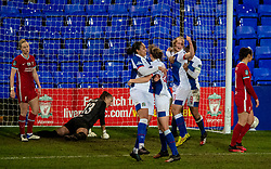 BIRKENHEAD, ENGLAND - Sunday, March 28, 2021: Blackburn Rovers' Elise Hughes celebrates after scoring the equalising goal during the FA Women's Championship game between Liverpool FC Women and Blackburn Rovers Ladies FC at Prenton Park. The game ended in a 1-1 draw. (Pic by David Rawcliffe/Propaganda)