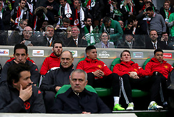 David Gill (back second left), Sir Alex Ferguson (back centre, left), Norma Charlton (back centre, right), Sir Bobby Charlton (back second right) and Manchester United executive vice-chairman Ed Woodward (back right) sit behind the Manchester United dugout including Manchester United manager Jose Mourinho (front, centre)