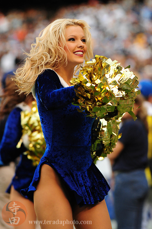 December 20, 2009; San Diego, CA, USA; San Diego Charger Girls cheerleader Katie performs during the fourth quarter against the Cincinnati Bengals at Qualcomm Stadium. The Chargers defeated the Bengals 27-24. Mandatory Credit: Kyle Terada-Terada Photo