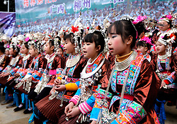 """Villagers sing local songs of the Dong ethnic group at Meilin Village in Meilin Township under Dong Autonomous County of Sanjiang, south China's Guangxi Zhuang Autonomous Region, March 10, 2016. People of Dong ethnic group attend a local song festival to greet the coming of Er Yue Er, or the second day of the second month on the Chinese lunar calendar, which falls on March 10 this year. Chinese people call it the day when the """"dragon raises its head"""", which means the spring awakens after winter hibernation. EXPA Pictures © 2016, PhotoCredit: EXPA/ Photoshot/ Wu Lianxun<br /> <br /> *****ATTENTION - for AUT, SLO, CRO, SRB, BIH, MAZ, SUI only*****"""