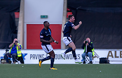 Raith Rovers Chris Duggan cele Kevin Nisbet scoring their third goal. Airdrie 3 v 4 Raith Rovers, Scottish Football League Division One played 25/8/2018 at the Excelsior Stadium.