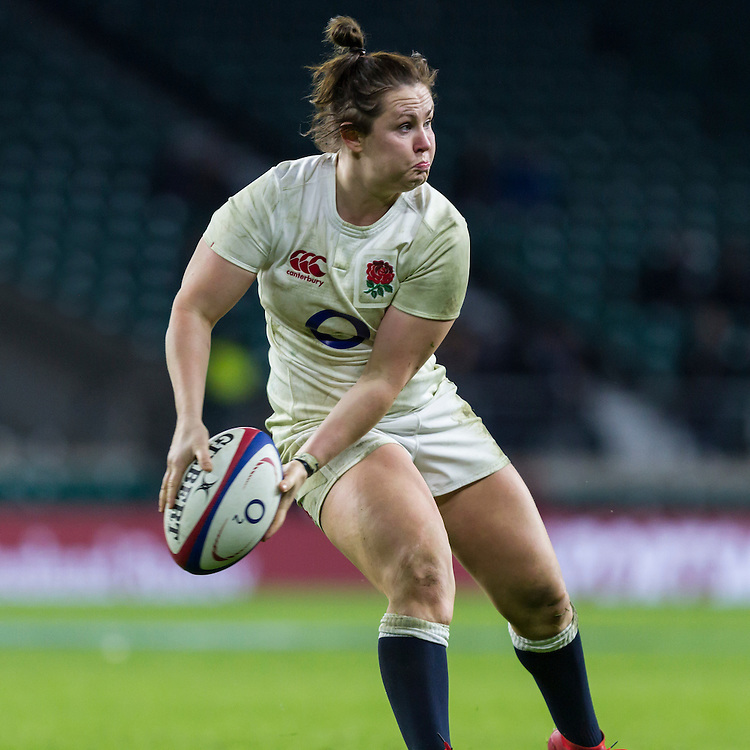 Marlie Packer in action, England Women v France Women in a 6 Nations match at Twickenham Stadium, London, England, on 4th February 2017 Final Score 26-13.