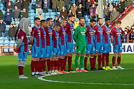 Minutes silence & remembrance held pior to kick off during the The FA Cup 1st round match between Scunthorpe United and Burton Albion at Glanford Park, Scunthorpe, England on 10 November 2018.